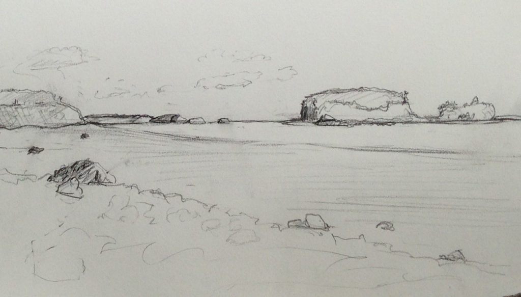 Drawing of Two Islands and Five Islands in the distance. June 2016.